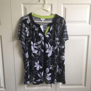 Avenue Plus Size Black & White Floral Top
